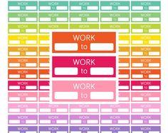 Work Stickers Work Schedule printable planner by EnjoyPlanning