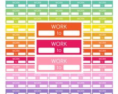 Printable Work Planner Stickers Rainbow color  *PRINTABLE IS FOR DOWNLOAD ONLY / NO ITEM WILL BE SHIPPED!  This printable planner stickers are a