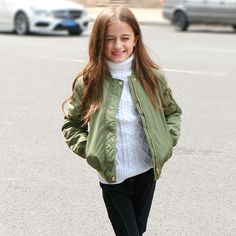 (33.50$)  Watch here  - 6 7 8 9 10 11 12 13 14 15 16 Years Old Children Jacket Girls Olive Baseball Jacket For Girls Winter Coat Girl Jacket Outerwear