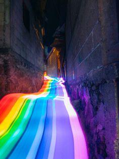 Vivid Rainbow Roads Trace Illuminated Pathways Across Forests And Beaches - Rain. - Vivid Rainbow Roads Trace Illuminated Pathways Across Forests And Beaches – Rainbow – - Road Photography, Photography Series, Exposure Photography, Light Painting Photography, Rainbow Photography, Colour Photography, Rainbow Art, Rainbow Colors, Rainbow Things