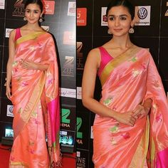 Super chic #aliabhatt wearing beautiful saree by #MadhuryaCreation x #AmiPatel.  #JaipurGems Jewellery at the #ZeeCineAwards 2017 in #Mumbai. Styled By StyleByAmi  #ZeeCineAwards2017 #Bollywood #BollywoodFashion #MovieShoovy