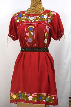 """La Antigua"" Mexican Embroidered Peasant Dress in Red at SirenSirenSiren.com, $59.95.  100% cotton caringly hand dyed, distressed and embroidered for a retro-vintage vibe!"