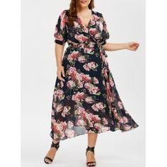 Plus Size Floral Maxi Wrap Dress Plus Size Wedding Guest Dresses, Plus Size Maxi Dresses, Plus Size Outfits, Casual Dresses, Summer Dresses, Cheap Dresses, Plus Clothing, Trendy Plus Size Clothing, Plus Size Fashion