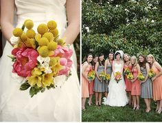 Grey peach and yellow bridesmaids dresses mismatched colors