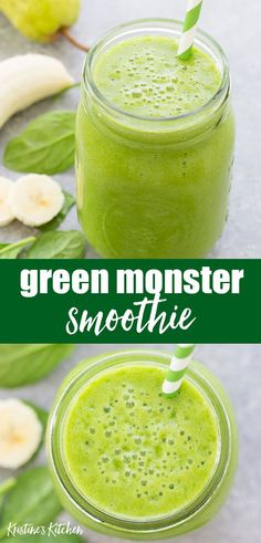 Healthy Green Monster Smoothie – so EASY to make and perfect for breakfast or a snack! One of the best smoothie recipes for energy! This smoothie is packed with healthy spinach but you can't taste it one bit. Great for kids and adults. Spinach Smoothie Recipes, Smoothie Recipes For Kids, Smoothies For Kids, Good Smoothies, Spinach Recipes, Energy Smoothie Recipes, Making Smoothies, Green Breakfast Smoothie, Best Green Smoothie