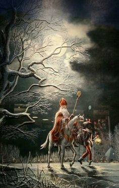 Sinterklaas en Zwarte Piet Christmas Images, Christmas Art, Vintage Christmas, St Nicholas Day, Father Christmas, Winter Solstice, Vintage Postcards, Holland, Saints