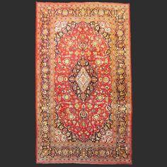 Semi Antique Persian Kashan silk vintage rug Iran / Persia 6.9 x 4.5 ft / 210 x 138 cm cm Bohemian rug 7 x 5 ft