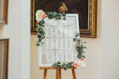 Wedding table plan frame - book themed with eucalyptus & roses (Photo by Helena Dolby Photography)