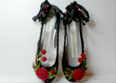 Bride's Princess Black Ballet Slippers Quinceanera Weddings Red Roses Flower Girl Dance Costume