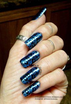 Blue Animal Print Nails