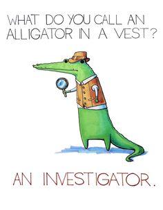 Alligator in a vest.