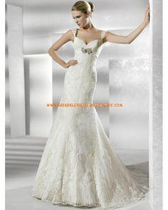 Wunderschne Brautkleider aus Satin mit Spitze verziert Meerjungfrau mit Schleppe