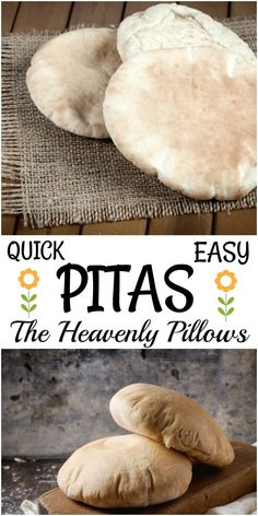 Quick and Easy Pitas — The Heavenly Homemade Pillows Quick and Easy Pitas make wonderful sandwiches. Their pocket can hold all sorts of favorite fillings. Homemade pitas couldn't be easier. Make them and you'll never purchase them again. Pita Recipes, Bread Recipes, Baking Recipes, Pita Bread Recipe Bread Machine, Healthy Recipes, Dessert Recipes, Desserts, Homemade Pita Bread, Homemade Pillows