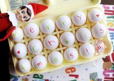 Elf on the shelf Writes on eggs