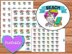 Uli Unicorn Beach Stickers, printable planner stickers, erin condren, happy planner, instant download, kawaii, unicorns, beach