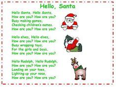 Hello Santa song chart Hello Santa song Preschool Christmas Songs, Christmas Poems, Preschool Music, Christmas Program, Christmas Crafts, Preschool Winter, Christmas Songs For Toddlers, Kids Christmas, Kindergarten Christmas