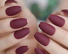 Fall Gel Nails, Fall Acrylic Nails, Red Nails, Hair And Nails, Burgundy Matte Nails, Matte Nail Colors, New Nail Colors, Color Nails, Burgundy Color