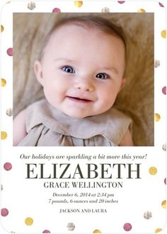 Divinely Dotted - Winter Girl Birth Announcements - Hello Little One - Raspberry - Pink : Front