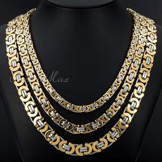 6/8/11 mm Gold Silver Flat Byzantine Stainless Steel Necklace Men's Chain 18-36 inch