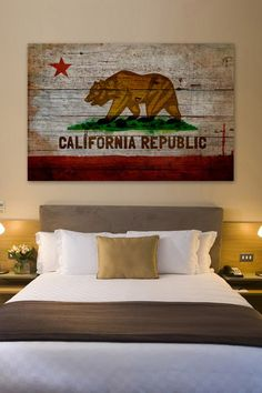 California Republic American Reclaimed Wood Wall Art by Oliver Gal