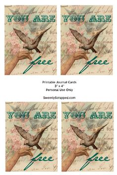 Free Printable Journal Cards, You Are Free with A Vintage Bird
