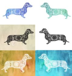 Zentangle Dachshund Clip Art Cut file Dog Lover gift by ValrArt