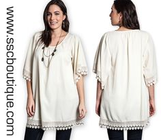 Our Short Sleeve Lace Trimmed Plus Tunic takes you from the office to dinner seamlessly! XL, 1XL, 2XL! Only $42.50! Order now!  http://www.sscboutique.com/collections/new-arrivals/products/cream-lace-trimmed-plus-tunic  #lace #creamtunic #plussize #curvy