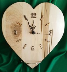 Heart Clock made out of Maple Wood by BobsFineWoodProducts on Etsy https://www.etsy.com/listing/220947890/heart-clock-made-out-of-maple-wood