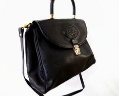 Black Leather hand/shoulder Bag Vintage  by BelledeJourVintage