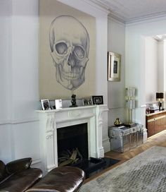 Dramatic artwork above fireplace
