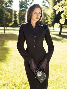 Fitted blazer, pencil skirt with leather gloves and clutch purse Corporate goth