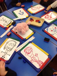 Phonics fun today ... the children came up with this game.... someone 'sound talked' a part of the body and everyone drew it on their board! Just look at those 't-ee-th'!!!!! Great turn taking too! Mr Tickled Pink is on the look out for wonderful work! He certainly was Tickled  Pink today!