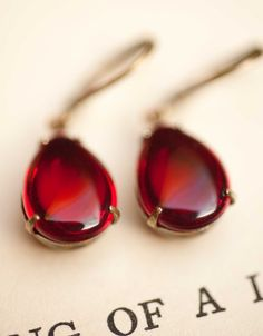 Red Earrings, Dangle Earrings, Vintage Earrings, Ruby red, Under 25, Jewelry Gift For Her - Sweet Cherry. $22,00, via Etsy.