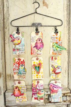 new Art Society Project, new girls and new retreats. busy busy Tags by Christy Tomlinson Using 'Scribbly Birds' Stamp Set Atc Cards, Card Tags, Gift Tags, Art Journal Pages, Art Journals, Collages, Art Society, Paper Tags, Art Graphique