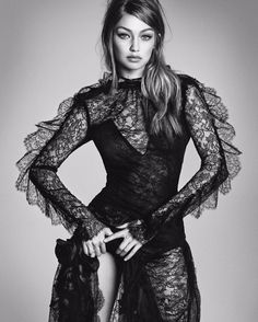 Gigi Hadid looks pretty in lace on the December 2016 cover of Vogue Japan. The blonde beauty wears an off-the-shoulder Chanel dress with tiered ruffles. Photographed by Luigi & Iango, Gigi wears lace-adorned styles from the fall collections. Fashion editor Anna Dello Russo selects a range of lingerie pieces as well as military inspired outerwear. …