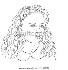 Hand drawn portrait of beautiful girl with long wavy hair, vector sketch isolated on white background, line art illustration