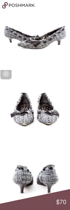 """Moschino Vintage Grey Cheap & Chic Heels with Bow Size 39.5 Wool upper in pretty greys with metallic silver thread detail Fringe edge on opening Pointed toes  Boucle design  Leather interior Covered leather kitten heels Leather soles  Made in Italy   Condition: Wear on soles. Light wear on wool boucle upper, nothing major, just from wearing.(Second hand item-has been worn by previous owner).  Dimensions Insole: 10"""" Width: 3.25"""" Heel: 2""""   100% Authenticity Guarantee Moschino Shoes Heels"""