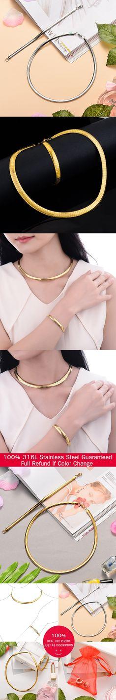 Jewelry Sets For Women Choker Necklace Set  Bracelet  Set Stainless Steel Jewellery Set