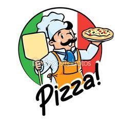 Brasão de armas do cozinheiro engraçado ou padeiro com pizza — Ilustração de Stock #101131748