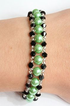 Crystal and pearl bracelet in green and black by AGoodBead on Etsy, $11.00