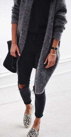 fall street style. knee ripped skinny jeans. knit cardigan. animal print espadrilles.