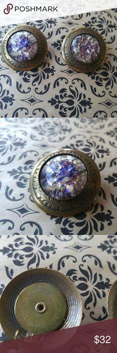 """Jan Michael San Francisco CA Brass Clip Earrings Jan Michaels of San Francisco CA brass clip on earrings with beautiful purple/tan stone. Great shape!! Measures about 3/4"""". Jan Michaels  Jewelry Earrings"""