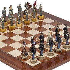 Hand Painted American Civil War Chessmen  Chelsea Park Deluxe Mahogany Chess Board from Spain *** Visit the image link more details.