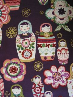 Nadya Russian Nesting Dolls Matryoshka Pattern by KitschFabrics