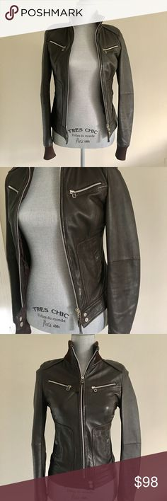 Zara TRF Leather collection Brown leather jacket Only worn 3 times! Great classic item for your closet. Zippered front with two zippered pockets Zara Jackets & Coats