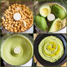 1 oz) can chick peas, well drained 2 medium ripe avocados, cored and peeled oz before cored and peeled) 3 Tbsp olive oil, plus more for serving if desired 1 Tbsp tahini 3 Tbsp fresh lime juice 1 clove garlic, peeled Salt and freshly ground black pepper… Avocado Hummus, Chickpea Recipes, Vegetarian Recipes, Healthy Recipes, Vegan Snacks, Healthy Snacks, Healthy Eating, Yummy Snacks, Appetizer Recipes