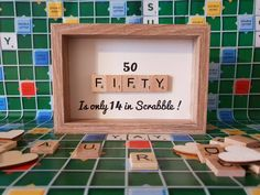 Fifty, Fiftieth a unique personalised scrabble art picture, hand crafted bespoke frame, that will remind the recipient on their special Fifty, Fiftieth birthday that - 'Fifty is only 14 in Scrabble! Scrabble Letter Crafts, Wooden Scrabble Tiles, Scrabble Art, Scrabble Letters, Name Gifts, Thank You Gifts, 50th Birthday Gifts, Birthday Fun, Love Craft