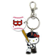 Boston Red Sox Hello Kitty Batter Keychain, $15 via Shop.MLB.Com --- My lovely friend Laura gave me this for my birthday. I'm normally not a Hello Kitty person but the baseball line is just adorable! This is too cute to let my keys scratch it up. so my friend Nollie suggested moving the charm off the keychain and onto a necklace, since the ring is big enough.