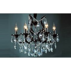 6 Light Maria Theresa Chandelier in polished Black finish