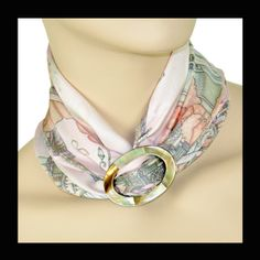 ANNE TOURAINE Paris™:  Paris je T'Aime misty rose  scarf  and  LARGE SCARF RING - BROWN MOTHER OF PEARL -